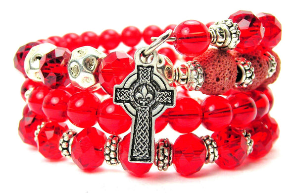 Celtic Cross With Fleur De Lis Center Multi Wrap Bracelet