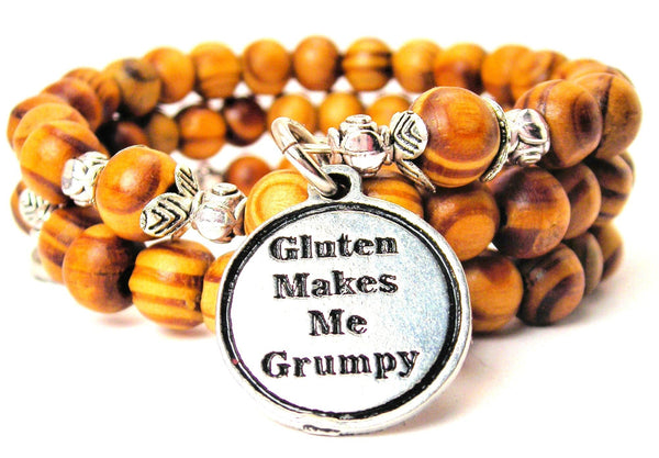 Gluten Makes Me Grumpy Natural Wood Wrap Bracelet