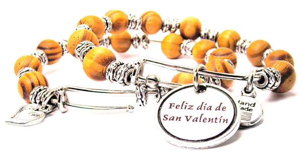 Feliz Dia De San Valentin Spanish Natural Wood Double Bangle Set