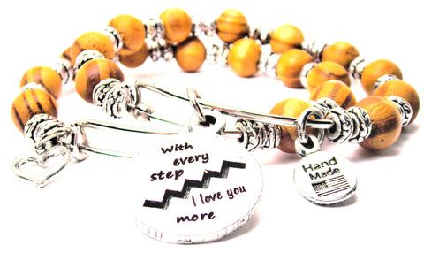 With Every Step I Love You More Natural Wood Double Bangle Set