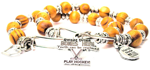 Sweat Dries Bones Heal Teeth Can Be Replaced Play Hockey Natural Wood Double Bangle Set