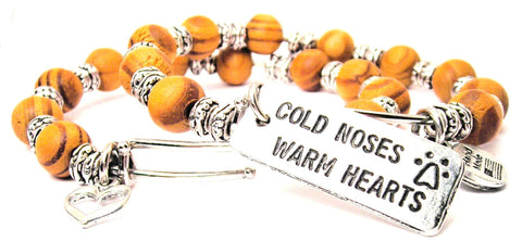 Cold Noses Warm Hearts Natural Wood Double Bangle Set