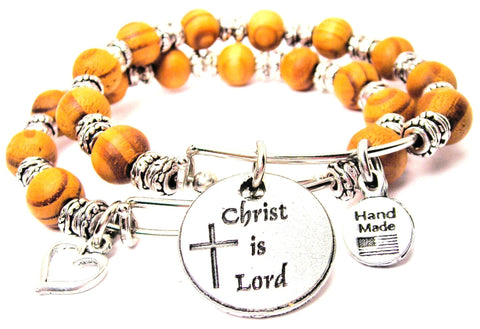 Christ Is Lord Natural Wood Double Bangle Set