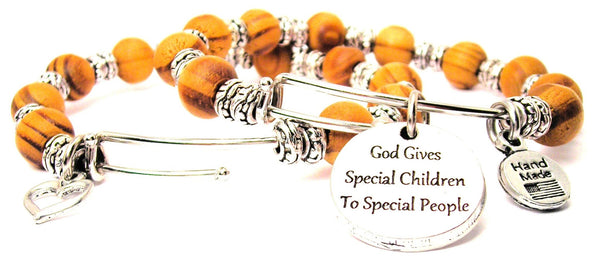 God Gives Special Children To Special People Natural Wood Double Bangle Set