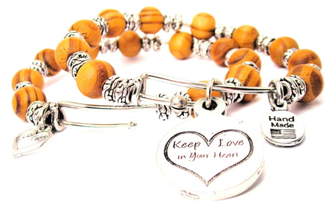 Keep Love In Your Heart Natural Wood Double Bangle Set