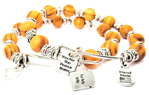 You Are The Peanut Butter To My Jelly Natural Wood Double Bangle Set