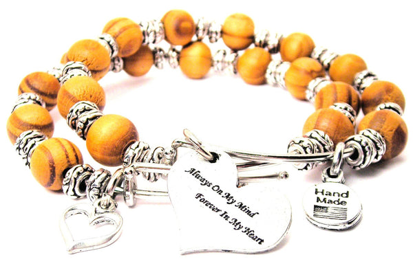 Always On My Mind Forever In My Heart Natural Wood Double Bangle Set