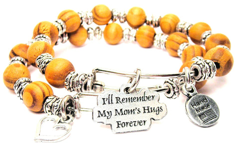 I'll Remember My Moms Hugs Forever Natural Wood Double Bangle Set