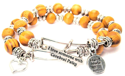 I Love Someone With Cerebral Palsy Natural Wood Double Bangle Set