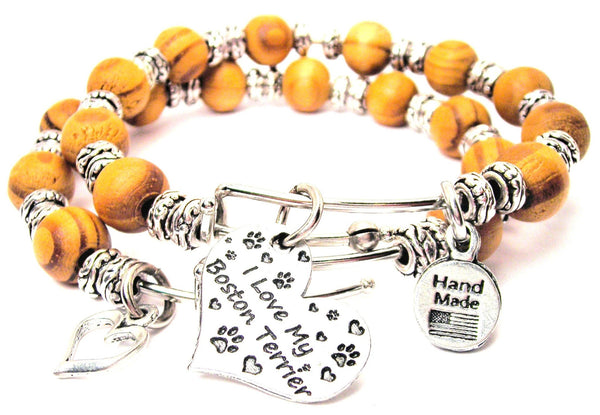 I Love My Boston Terrier Heart Natural Wood Double Bangle Set