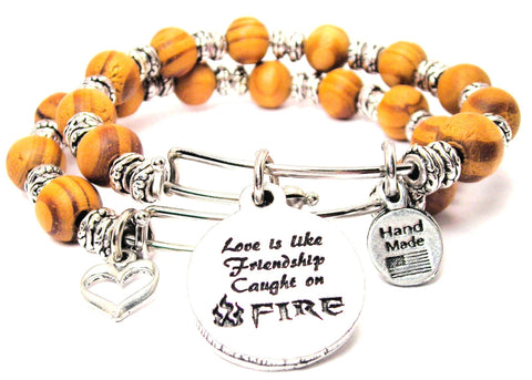 Love Is Like Friendship Caught On Fire Natural Wood Double Bangle Set