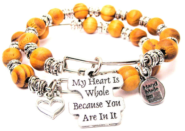 My Heart Is Whole Because You Are In It Natural Wood Double Bangle Set