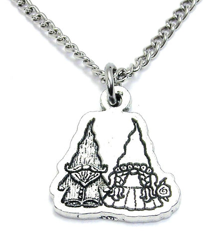 Yard Gnomes In Love Single Charm Necklace