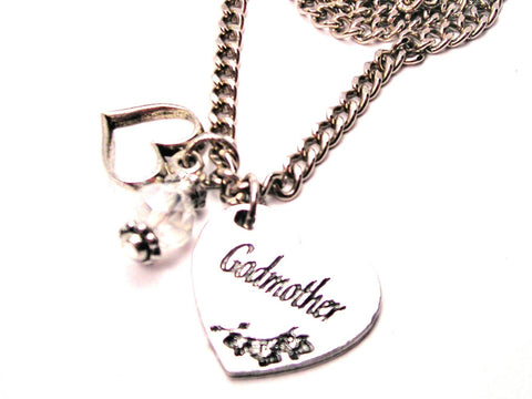 Godmother Heart Necklace with Small Heart