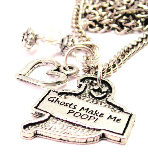 Ghost Makes Me Poop! Necklace with Small Heart