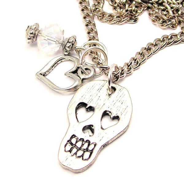 Mexican Sugar Skull With Heart Shaped Eyes Necklace with Small Heart