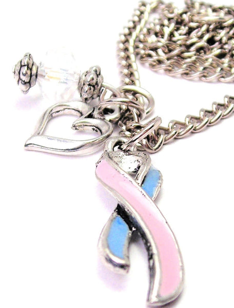 Infant Loss Ribbon Pink And Blue Necklace with Small Heart