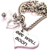 Get Well Soon Heart Necklace with Small Heart