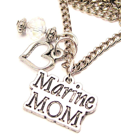 Marine Mom Necklace with Small Heart