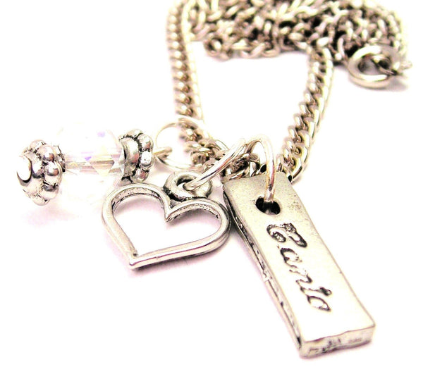 Canto Tab Necklace with Small Heart