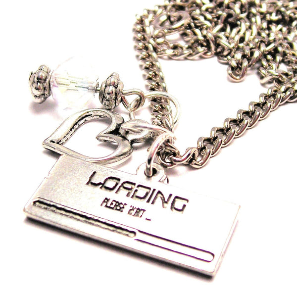 Loading Please Wait Necklace with Small Heart