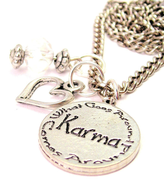 Karma What Goes Around Comes Around Necklace with Small Heart