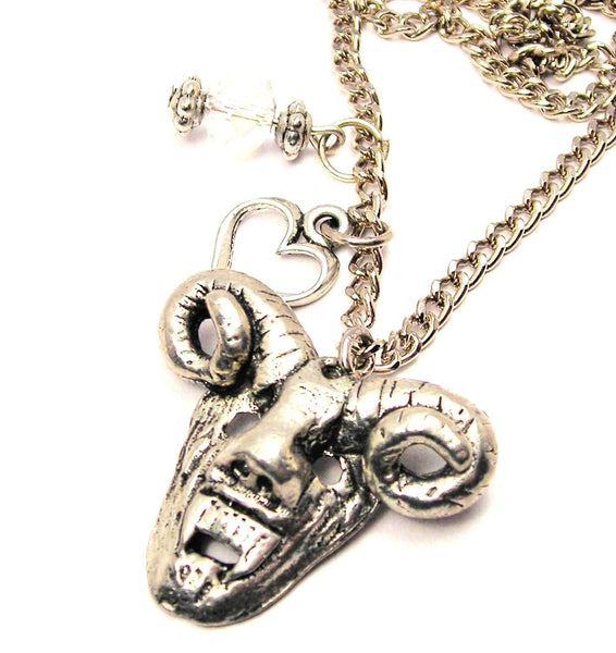 Demon Face Necklace with Small Heart
