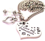 I Love My Dalmatian Heart Necklace with Small Heart
