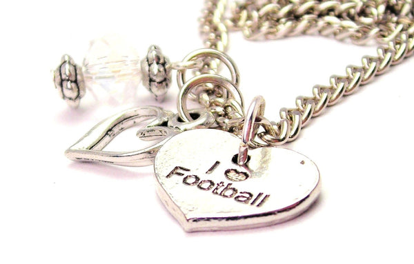 I Love Football Necklace with Small Heart