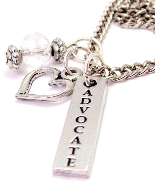 Advocate Long Tab Necklace with Small Heart