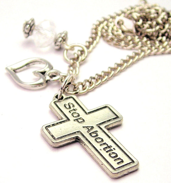 Cross Stop Abortion Necklace with Small Heart