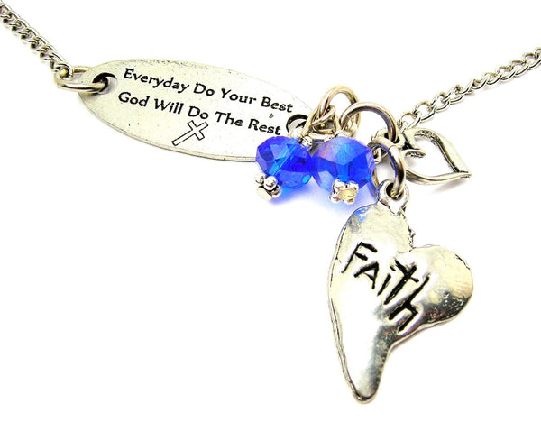 Everyday Do Your Best God Will Do The Rest And Faith Abstract Heart Lariat Necklace