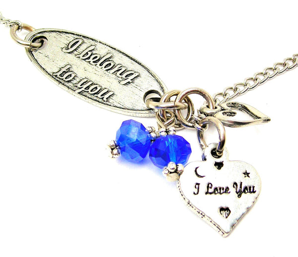 I Belong To You And I Love You Heart Lariat Necklace