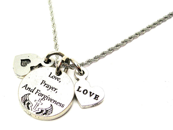 Love, Prayer, And Forgiveness Stainless Steel Rope Chain Necklace