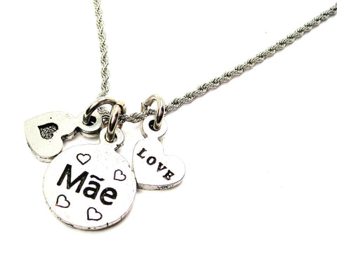 Mae Mom In Portuguese Stainless Steel Rope Chain Necklace