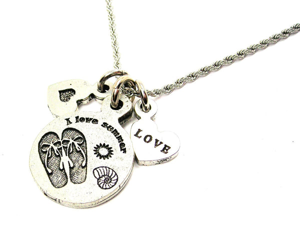 I Love Summer Flip Flops With Seashell Stainless Steel Rope Chain Necklace