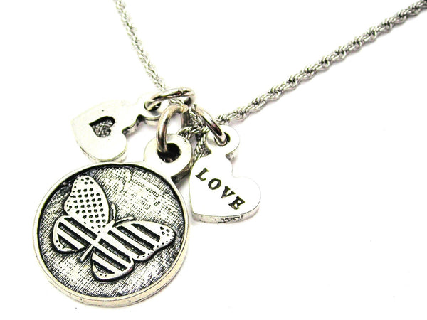 American Flag Butterfly Circle Stainless Steel Rope Chain Necklace