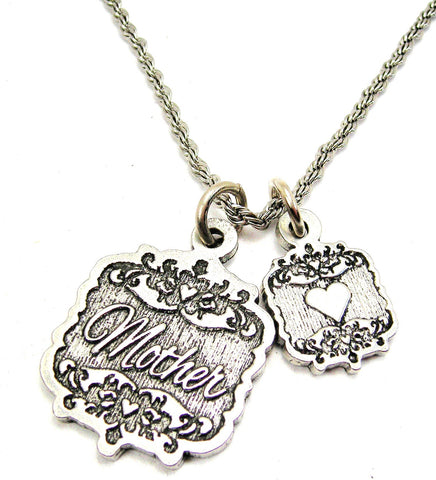 "Mother Victorian Scroll With Victorian Accent Heart 20"" Stainless Steel Rope Necklace"