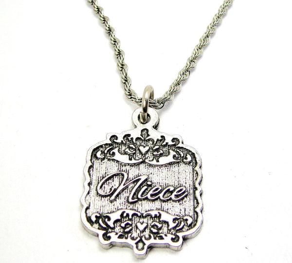 "Niece Victorian Scroll 20"" Stainless Steel Rope Necklace"