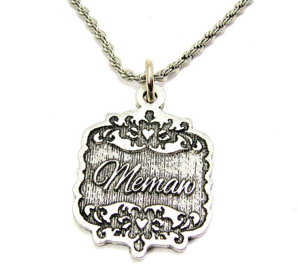 "Memaw Victorian Scroll 20"" Stainless Steel Rope Necklace"