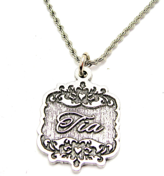 "Tia Victorian Scroll 20"" Stainless Steel Rope Necklace"