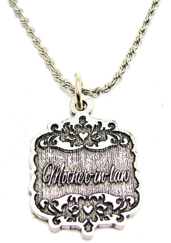"Mother-In-Law Victorian Scroll 20"" Stainless Steel Rope Necklace"