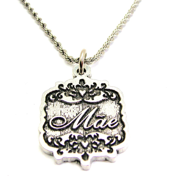 "Mae Victorian Scroll 20"" Stainless Steel Rope Necklace"