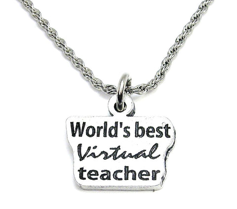 World's Best Virtual Teacher Stainless Steel Rope Chain Necklace
