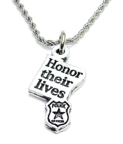 Honor Their Lives Police Badge Stainless Steel Rope Chain Necklace