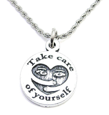 Take Care Of Yourself Self Hug Heart Single Charm Necklace