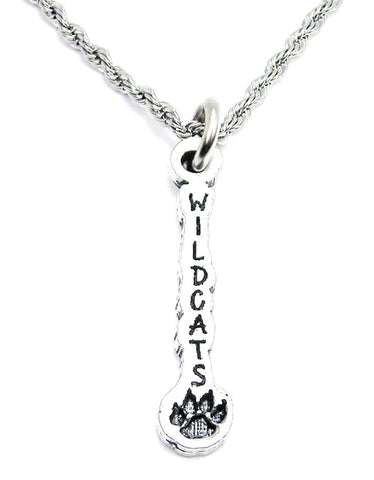 Wildcats With Paw Print Single Charm Necklace