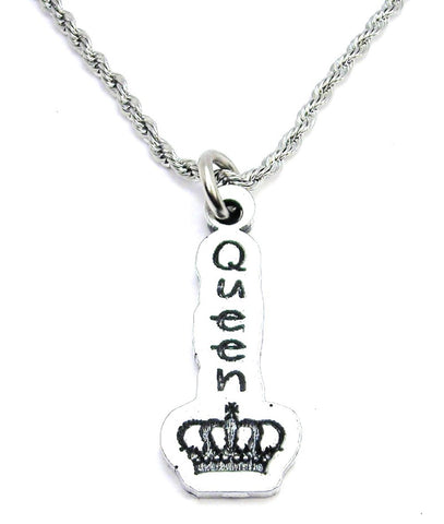 Queen With Crown Single Charm Necklace