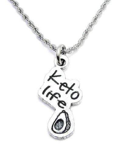 Keto Life With Avocado Stainless Steel Rope Chain Necklace