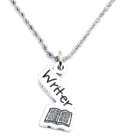 Writer With Book Stainless Steel Rope Chain Necklace